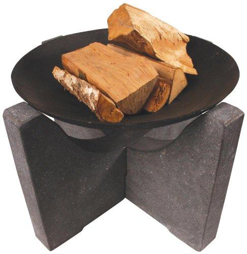Esschert Design Feuerstelle Granito, Feuerschale mit Granitfuß, Ø Schale 59 cm, Unterstand ca. 68 cm x 68 cm x 46 cm